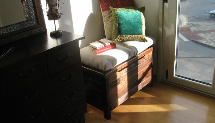 Baúl de madera de almacenamiento